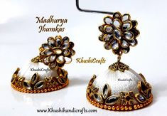 94e2e6dfd Gorgeous Bridal Silk Thread Red/White/Orange/Black Indian Jhumki /Jhumka  Earrings with stone finish Pachi stud -Sold as a pair