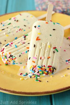 These cake batter popsicles are sweet, creamy and taste just like cake batter, garnished with plenty of sprinkles.