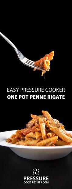 Make this Easy One Pot Pressure Cooker Penne Rigate Pasta Recipe in 30 mins! Comforting vegan pasta bursting with flavors. Great quick & easy dinner! via @pressurecookrec