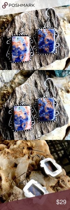 Sodalite earrings Genuine natural sodalite stones with dramatically beautiful cobalt blue, ice blue and rust colors. Handcrafted, silver plated. Variations in natural stones make these earrings one of a kind.   Southwestern, western, hippie. boho, festival, vacation Excelencia Jewelry Earrings