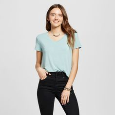 Women's Short Sleeve Softest V-Neck Tee Teal (Blue) XL - Mossimo Supply Co.