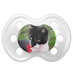 Awesome Tuxedo Cat in Garden Pacifier - red gifts color style cyo diy personalize unique
