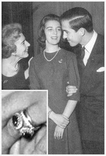 The Royal Order of Sartorial Splendor: Flashback Friday: Mediterranean Engagement Rings-Engagement of Princess Anne-Marie of Denmark with King Constantine of Greece (shown with her other Queen Ingrid); inset-her engagement ring