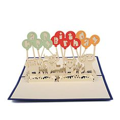 Artistic Pop-up 3D Blue Cards Balloons Happy Birthday