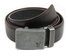 Mission Belt Men's Iron and Brown Leather Ratchet Belt - Large - Iron at Amazon Men's Clothing store: Apparel Belts