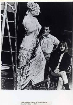 """Niki de Saint Phalle & Jean Tinguely. """"In this world of so much pain, if a sculpture of mine can give a moment of joy, a moment of life to a passerby, I feel rewarded"""" (Saint Phalle); """"One has complexes. One has the art complex. One goes to the School of Fine Arts and catches the complexes"""" (Tinguely)."""