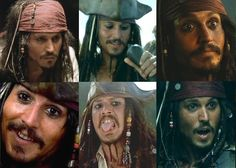 Many of the faces of Captain Jack Sparrow Geek Movies, Movie Characters, Johny Depp, Johnny Depp Movies, Captain Jack Sparrow, Rory Williams, All The Things Meme, Pirate Life, Pirates Of The Caribbean