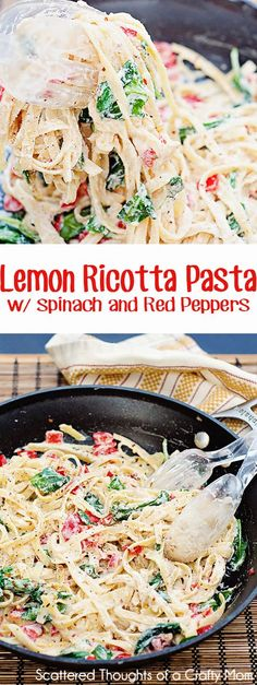 Light and easy pasta dish: Lemon Ricotta Pasta w/ Spinach and Red Peppers.