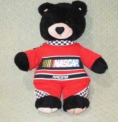 "NASCAR Black Teddy Bear Build A Bear Outfit 17"" Plush Stuffed Red Racing Suit #Any"