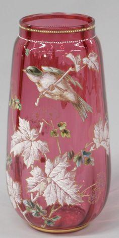 Moser Cranberry Enamel Decorated Vase, c. 1880