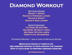 A fun workout to try on the baseball diamond, next time you're at the park! … A fun workout to try on the baseball diamond, next time you're at the park! Softball Workouts, Softball Drills, Fun Workouts, Softball Coach, Softball Stuff, Softball Mom, Pro Baseball, Baseball Training, Baseball Memes