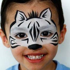 maquillage, enfant, zebre, noir, blanc