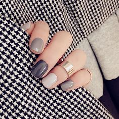 A manicure is a cosmetic elegance therapy for the finger nails and hands. A manicure could deal with just the hands, just the nails, or Short Nail Designs, Cool Nail Designs, Grey Nail Designs, Colorful Nail Designs, Hair And Nails, My Nails, Design Ongles Courts, Uñas Fashion, Fashion Clothes