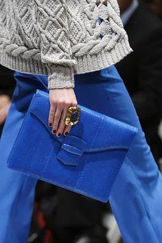 navy & orange: cobalt blue clutch