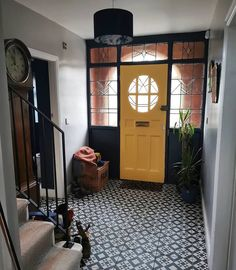 Renovation tour - a house transformed into a stylish boho family home — . - Renovation tour – a house transformed into a stylish boho family home — Love Renovate - Hall Tiles, Tiled Hallway, Yellow Hallway, Yellow Stairs, Front Hallway, Flur Design, Home Design, Design Ideas, Interior Design