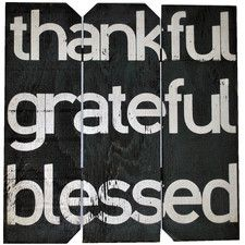 Thankful Grateful Blessed Wall Décor Textual Art on Plaque