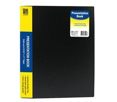 C-Line 12-Pocket Presentation Book, 24-Page Capacity, For 8.5 x 11-Inch Inserts, Black (33120) by C-Line. $5.03. C-Line, a leading manufacturer of office supplies with a product line that features storage, identification and organization products. Present your report, project or artwork in style with this presentation book. The book features 12 bound-in clear top-loading sheet protectors that lie flat while the book is open. Not only are the pages great for hold...