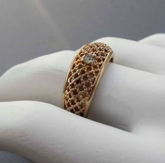18k HGE Gold diamond ring size 7 vintage by PaganCellarJewelry, $24.99