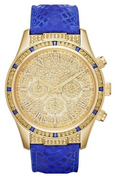 Can't get enough of this blue & gold Michael Kors watch!
