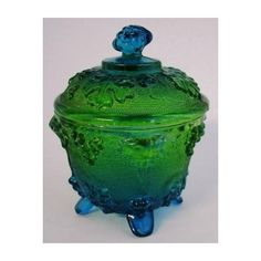 Jeanette Glass Blue Green Stained Covered Candy Jar: Kitchen