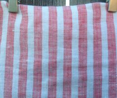 White and Red Ticking Stripe Shower Curtain, 72x72, 72x85, 72x94, 72x72, Ticking Stripe linen fabric by CustomLinensHandmade on Etsy https://www.etsy.com/listing/241677298/white-and-red-ticking-stripe-shower