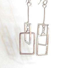 Items similar to Interconnected Rectangle Earrings, Geometric Earrings, Mobile earrings, Artisan Jewelry on Etsy Artisan Jewelry, Handcrafted Jewelry, Custom Earrings, Steel Wool, Copper Bracelet, Jewelry Design, Drop Earrings, Sterling Silver, Gifts