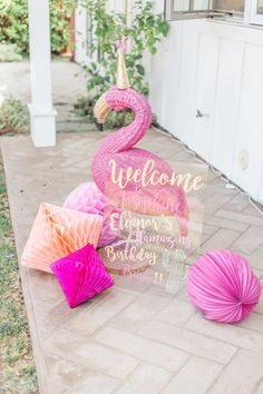 Flamingo decor and honeycombs from a Cactus and Flamingo Themed Summer Party at Kara's Party Ideas.