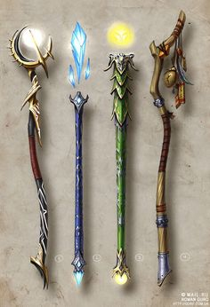 Concept art by Roman Guro Fantasy Kunst, Fantasy Art, Disney Fantasy, Magia Elemental, Elemental Magic, Armas Ninja, Anime Weapons, Cosplay Weapons, Shuriken