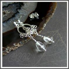 koralowo... kamykowo...: Kryształ Silver earrings with crystal.