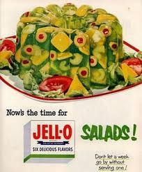 Jell-O Salads--sooo good. Mom and Dad always had company on Sunday after church and Mom would often times serve different jello salads---yummy.
