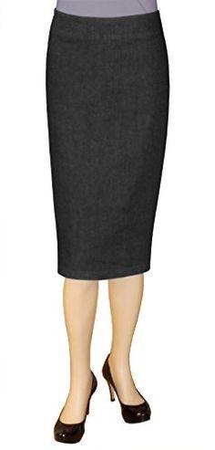 0bc05c6d544 Baby O Women s Below The Knee Stretch Denim Pencil Skirt (0