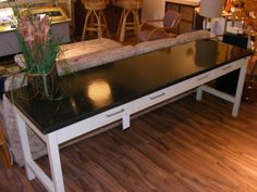 """Giant Slate Topped Console Table with local history! Upjohn Company 90"""" long X 24"""" deep X 30"""" tall!  — at Retro."""