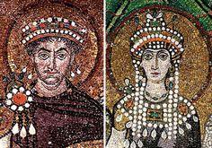 Justinian and Theodora, Basilica San Vitale, 547 AD/CE, Byzantine mosaics in Ravenna, Italy.