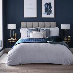 Royal Blue Bedrooms, Blue And Gold Bedroom, Blue Master Bedroom, Navy Bedrooms, Blue Bedroom Decor, Room Ideas Bedroom, Midnight Blue Bedroom, Master Bedroom Interior, Master Bedroom Color Ideas