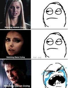 Hahah. It is sad when rebekah cries though. She was the main character in my favourite tv programme when i was little. Shes one of my favourite actresses now.