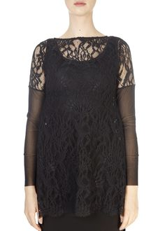 This is the 'Tisi' Elegant Black Lace Top by our friends at XD Xenia Design! Make a statement this season with the Xenia Design. Boasting a beautiful design, this top features a lace body, long sleeves, and a lovely loose fit. Xenia Design, Split Skirt, Tube Skirt, Lace Body, Black Lace Tops, Fabric Design, Tunic Tops, Ladies Tops, Elegant