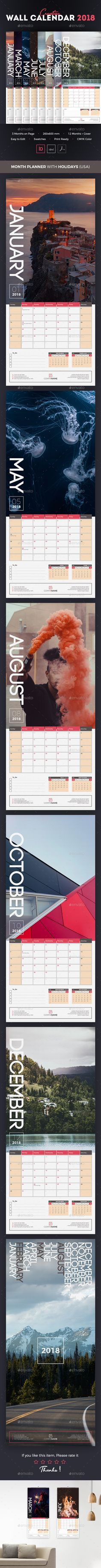 Wall Calendar 2018 Template Vector Eps, Ai Illustrator | Calendar Templates  | Pinterest | Calendar 2018, Ai Illustrator And Template