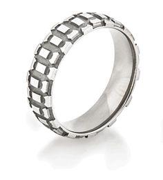 Men's Titanium Motorcycle Wedding Ring