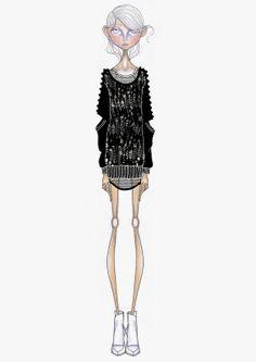 Fashion illustration - outfit sketch; stylised fashion drawing // Leandro Benites