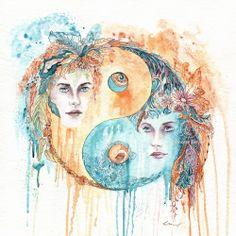 Yin Yang Bild, gemalt in Aquarell und Tusche, als Kunstdruck erhältlich