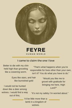 Feyre --- A Court of Throns and Roses by Sara J Maas #ACOTAR