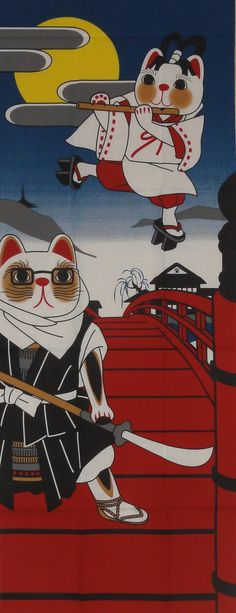 Maneki Neko Warrior Motif Tenugui Japanese by kyotocollection, $16.00