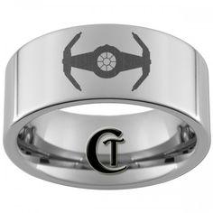 10mm Pipe Tungsten Carbide Laser Star Wars Tie Interceptor Design Ring