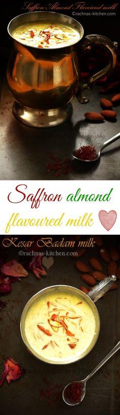 Kesar badam milk recipe, how to make kesar milk   saffron almond flavoured milk