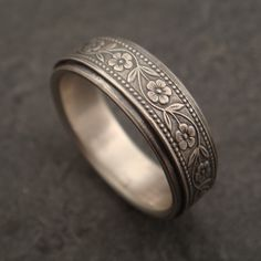 Wedding Band Floral Wedding Ring in by DownToTheWireDesigns