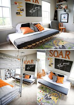 Grey and orange strike again! this time in a modern boys' room that is softened with vintage-inspired