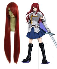 WINE RED LONG FAIRY TAIL ERZA·SCARLET COSPLAY WIG 100CM