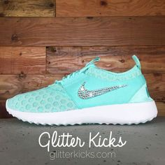 Women's Nike Juvenate Running Shoes By Glitter Kicks - Customized With Swarovski Crystal Rhinestones - Tiffany Blue