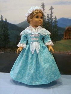 Aqua Day Gown with Lace Fichu Cap fits American Girl Elizabeth Felicity 18 in. #ClothingShoes