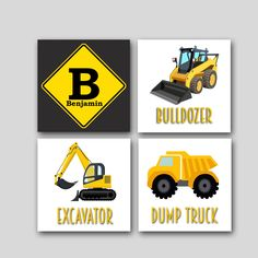 Set of 4 Prints for a Little Boy's Room or Nursery, Trucks, Trains, Construction theme in yellow & black, personalized; available in canvas by dreamweaverprints on Etsy